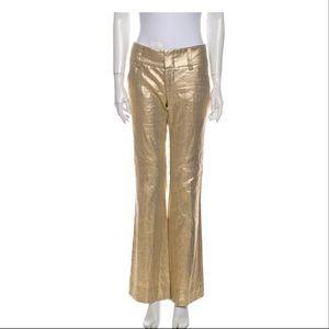 Alice + Olivia gold linen slacks size 2